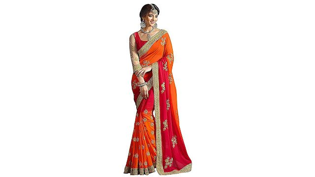 8a45aff48d8a93 Arohi Designer Embroidered Orange Colour Silk   Georgette Saree for women  With Blouse Material