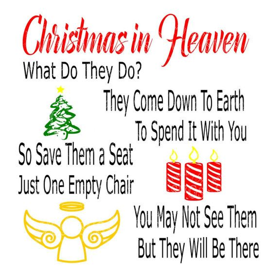 Christmas In Heaven Poem Svg.Christmas In Heaven Svg Christmas Memorial Svg Holiday Quote