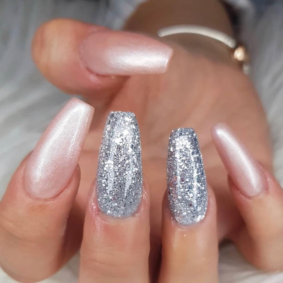 Rose gold and silver nail art design