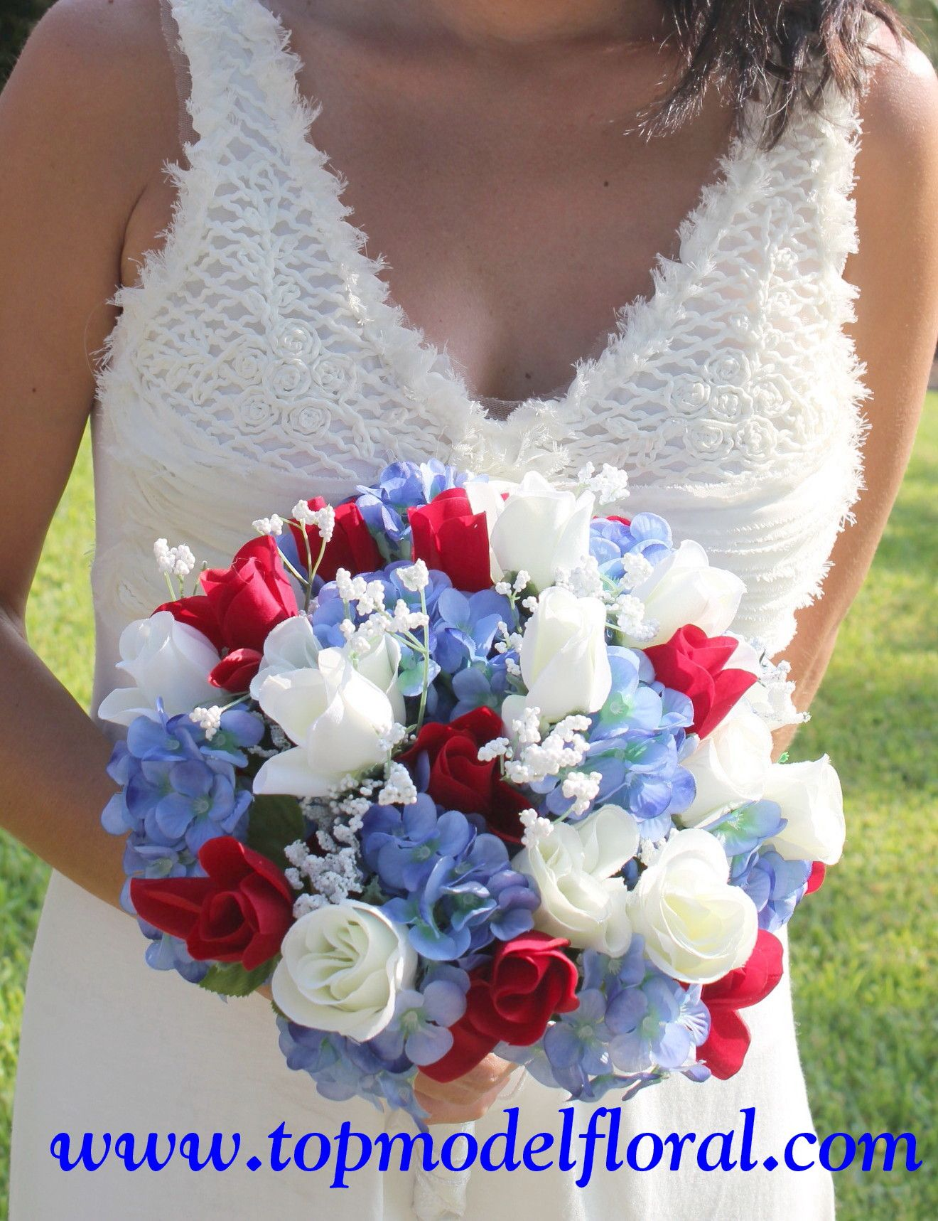 Wedding Flower Arrangements Blue And Red White Bridal Bouquet