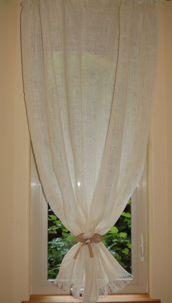 Natural Or White Burlap Curtain Tie Back With By Mountblossom Window Treatments Living Room Cottage Chic Burlap Curtains