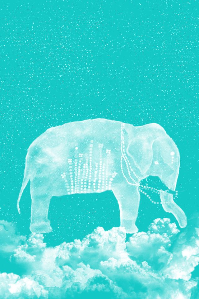 Wallpaper Blue Cute Elephant Clouds Iphone