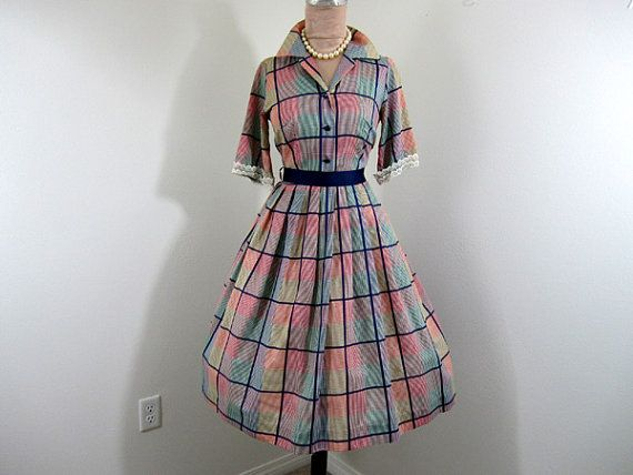 Vintage 1950's 1960's // Rainbow Plaid Shirtwaist // Play and Party Dress