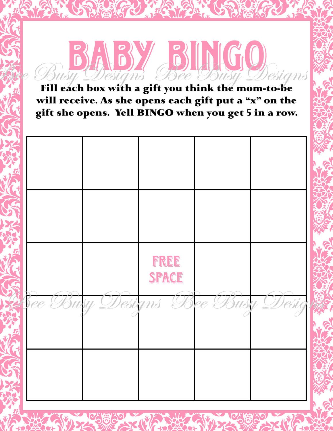 This Is For A Printable Pink Damask Baby Bingo File