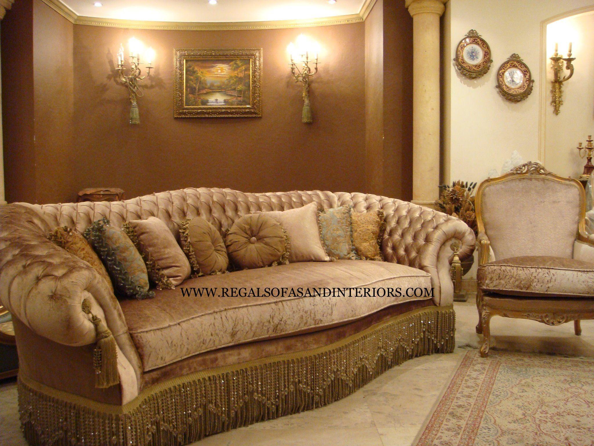 Luxury Chesterfield Velvet Velour Sofa Gold Sand