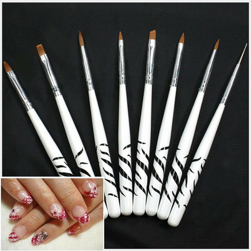 8x Set 3d Painting Drawing Uv Gel Diy Nail Art Brush Pen Salon