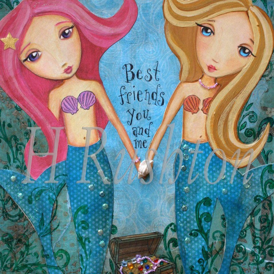 Mermaid Art -Children Decor-  Mixed Media- Art Print- Whimsical 8x10. $18.00, via Etsy.