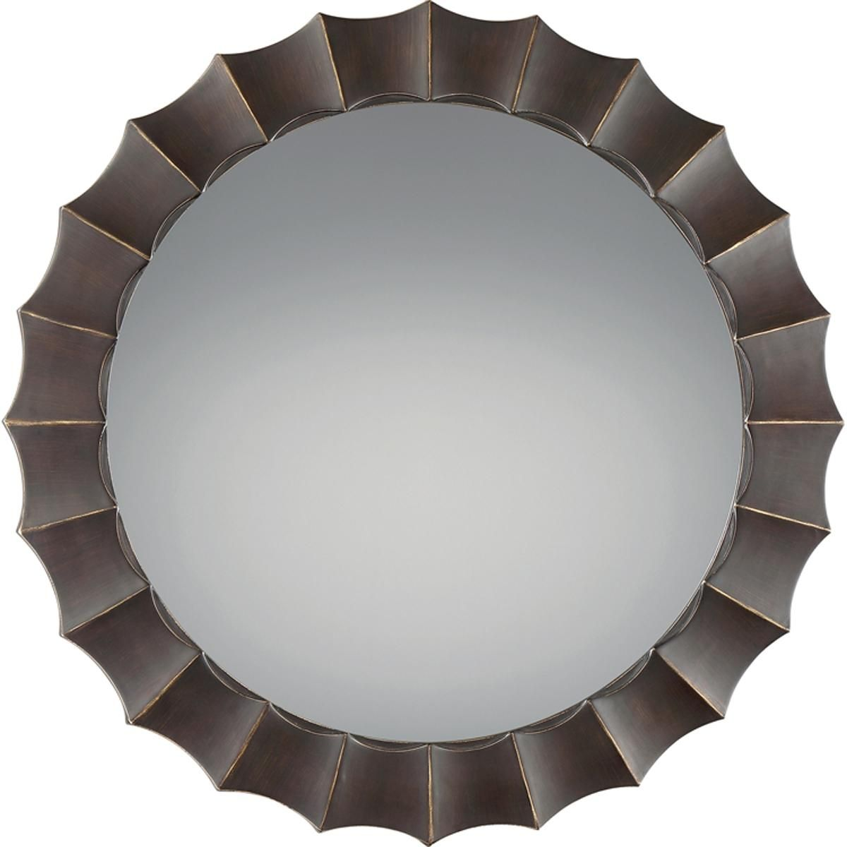 Contemporary round scalloped framed mirror transitional