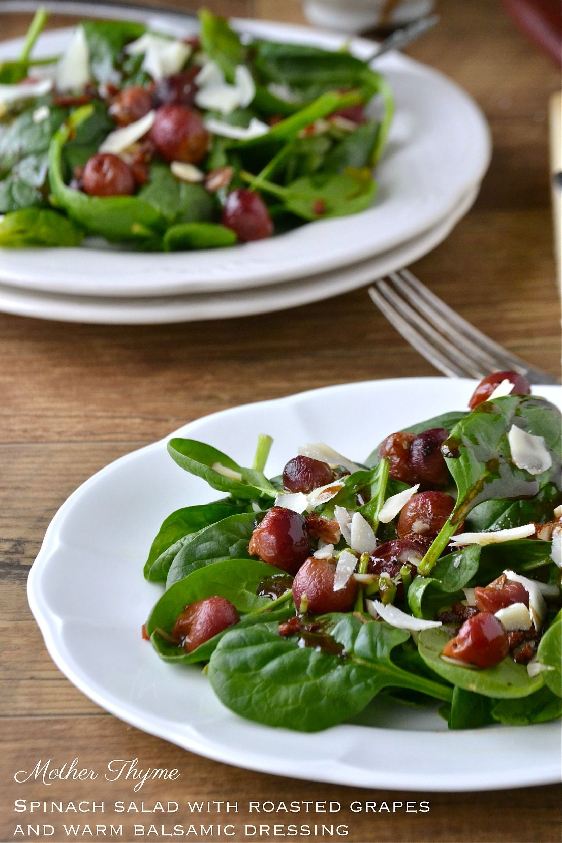 Spinach Salad with Roasted Grapes and Warm Balsamic Dressing | www.motherthyme.com