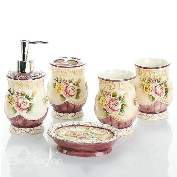 Beautiful Rose Relief European Style 5 Piece Bathroom Accessories On Retail Price Bath Ensembles At Beddinginn