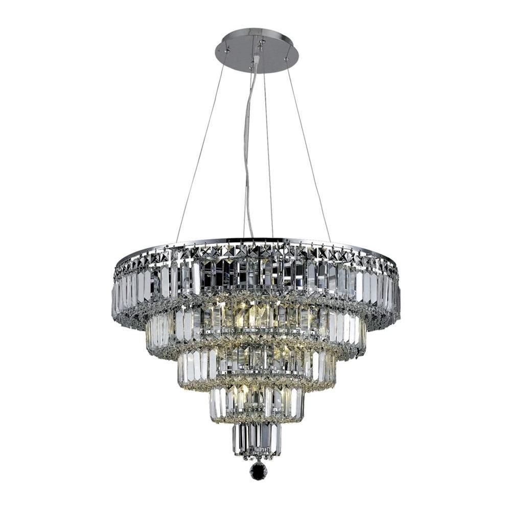 Elegant Lighting 14-Light Chrome Chandelier with Clear Crystal