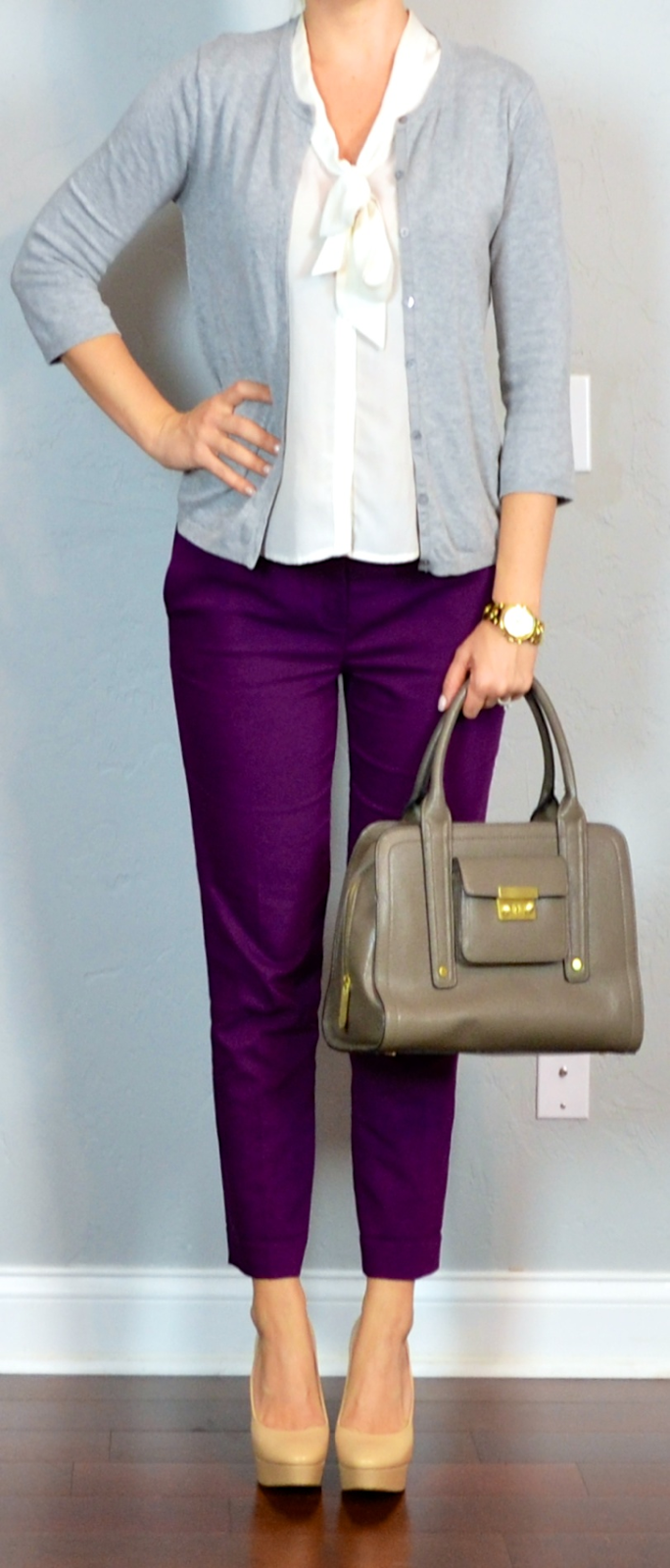 outfit post: purple cropped pants, white tie-neck blouse, grey ...