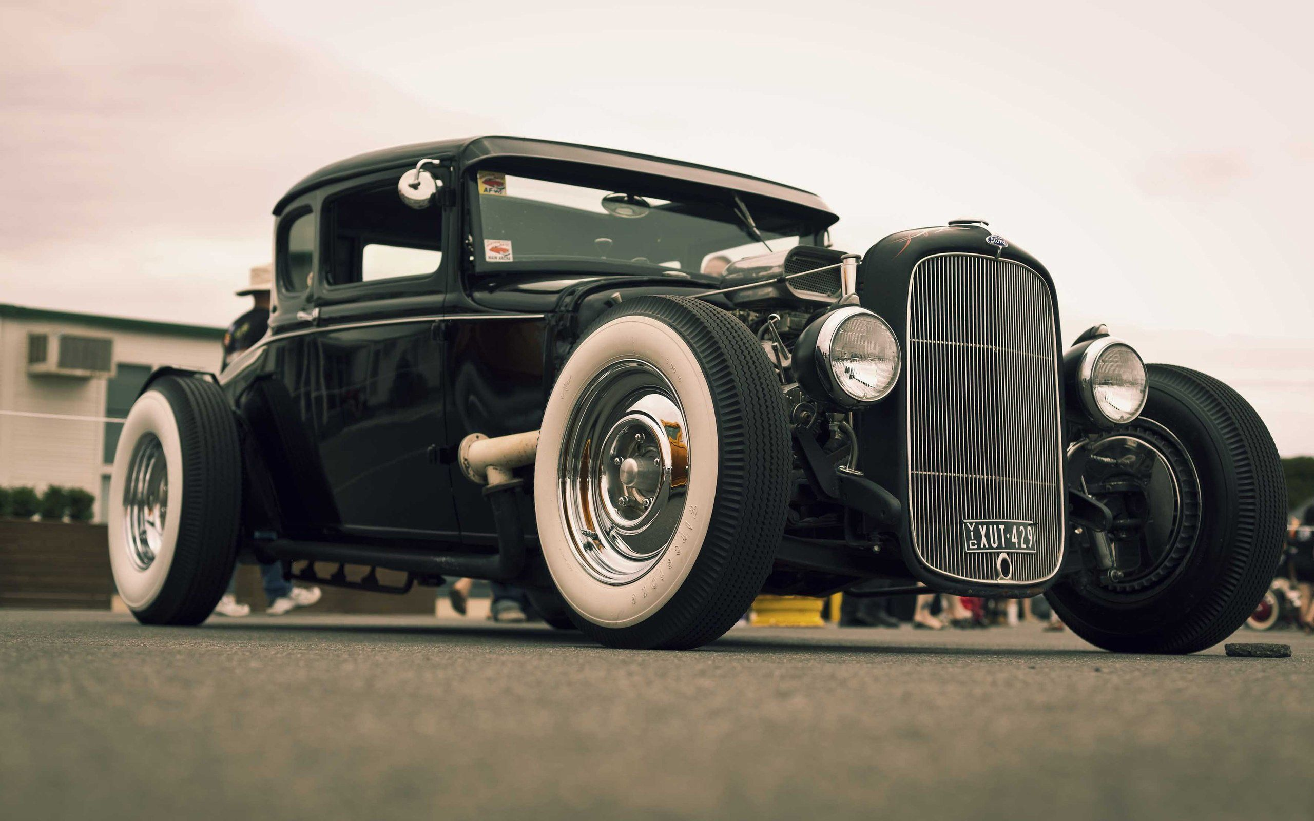 Classic Black Hot Rod Car HD Desktop
