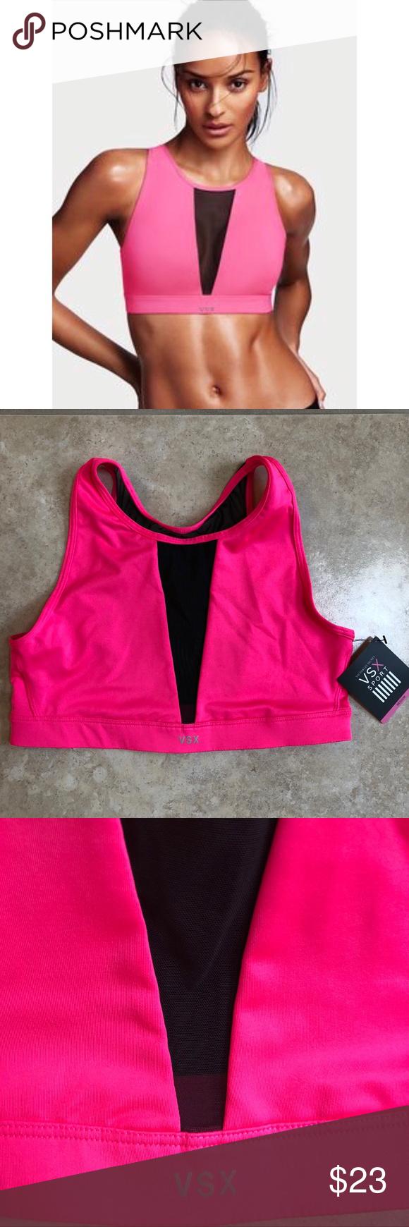 5060f22fb6 NWT Victoria s Secret VSX High Neck Mesh Sport Bra NWT Victoria s Secret  VSX Sport High Neck Mesh Sport Bra Medium Pink   Black Pink with black mesh  Size ...