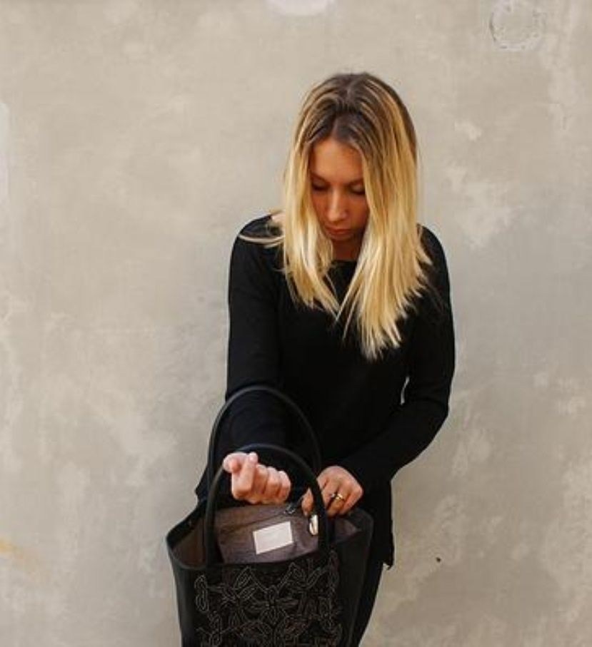 Cabas cuir et broderie noir  cow leather Shopper bag  by Tyssen Paris Www.tyssenparis.com