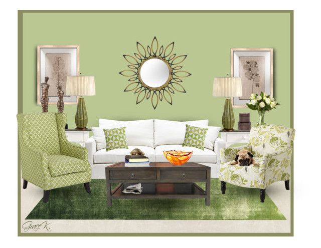 """""""A Green Room"""" by gracekathryn ❤ liked on Polyvore featuring interior, interiors, interior design, home, home decor, interior decorating, Stanley Furniture, Designers Guild, Melissa Van Hise and Iconic Pineapple"""