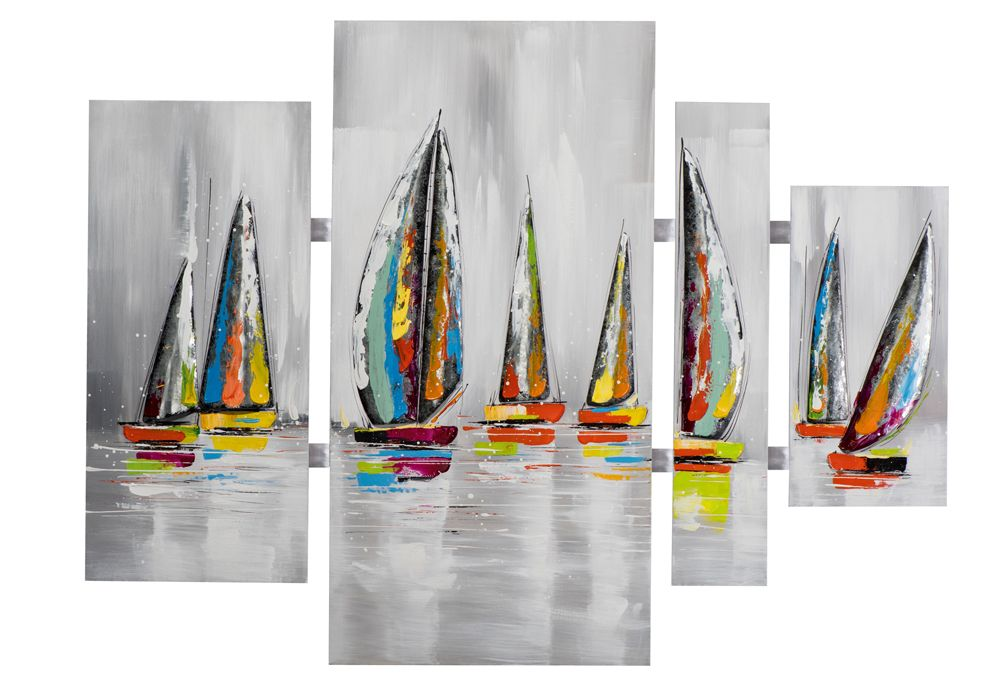 tableau quadryptique marine voiliers couleurs vives sur. Black Bedroom Furniture Sets. Home Design Ideas