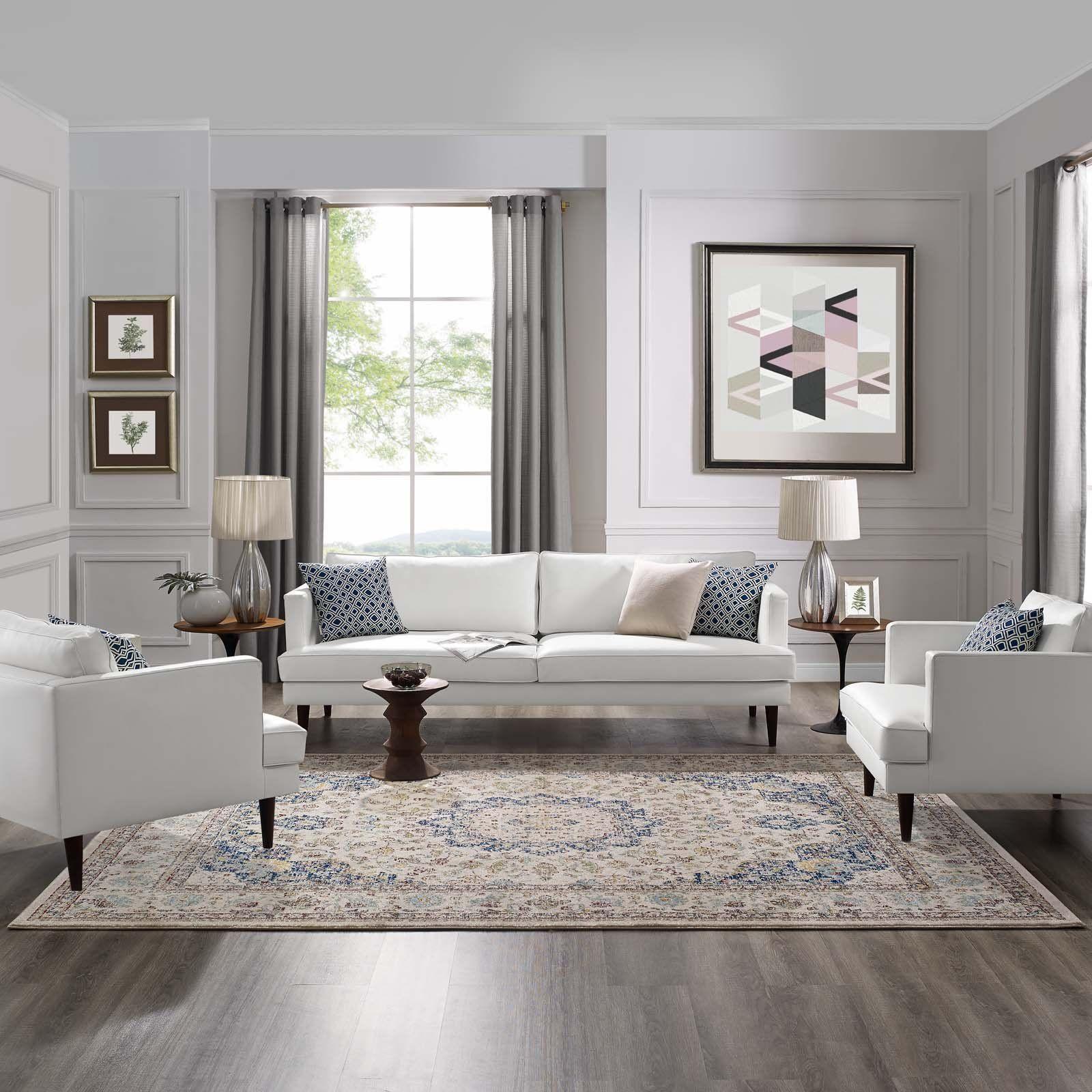 Elegant Contemporary Living Room Furniture: Meryam Distressed Persian Medallion 8x10 Area Rug