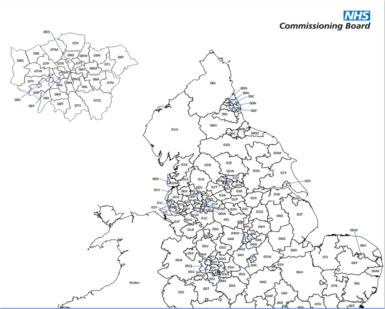 Map Of Clinical Commissioning Groups On The Nhs England