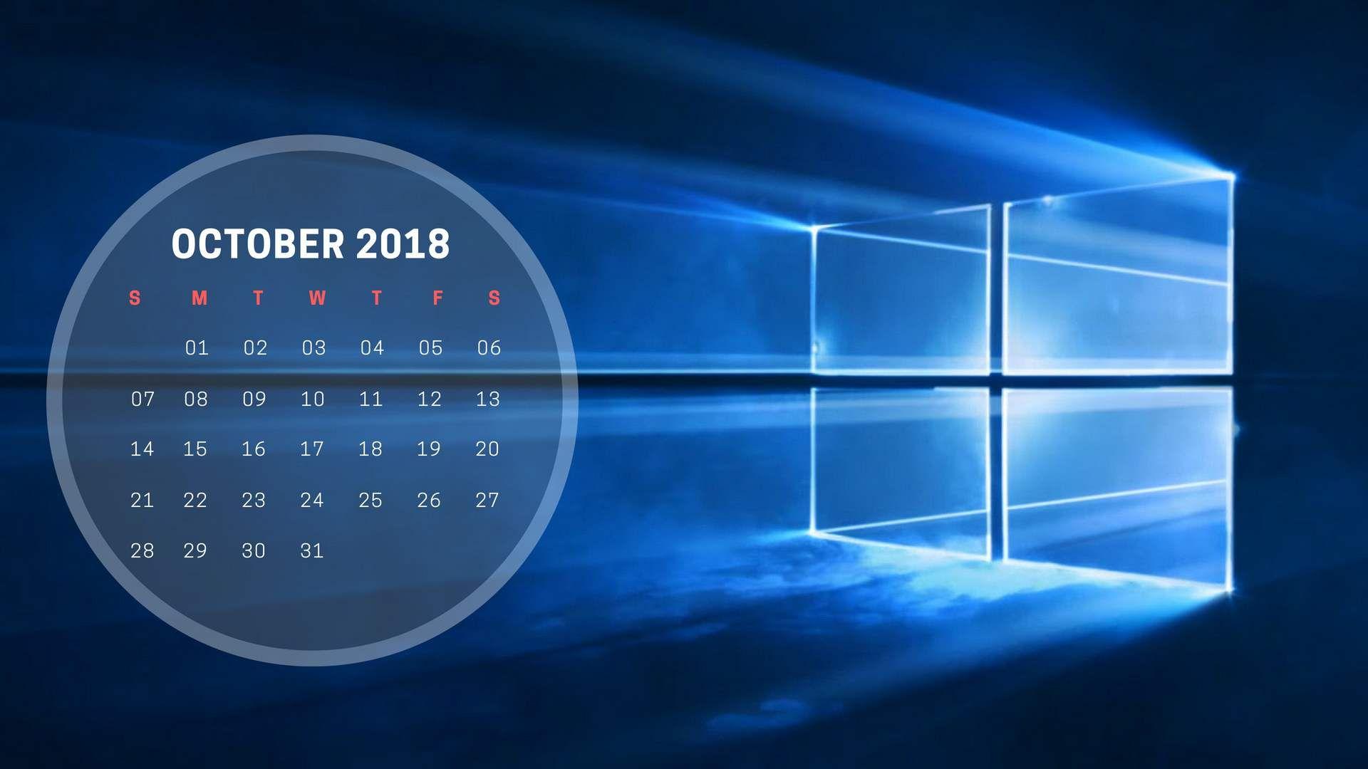 October 2018 Calendar Wallpaper Window Calendar Wallpaper