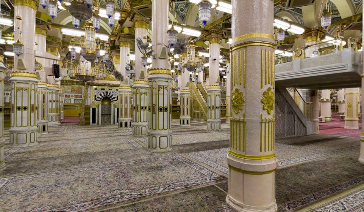 الروضة الشريفة المنبر و المحراب و دكة الأذان Medina Mosque Mosque Architecture