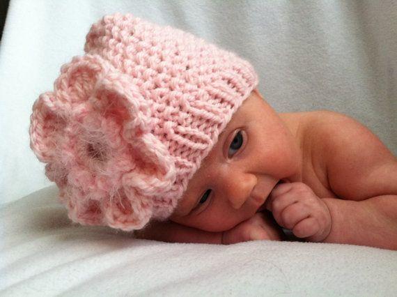 Baby Knit Hat Chunky Flower Bonnet for Newborn by deusprovidebit, $28.50