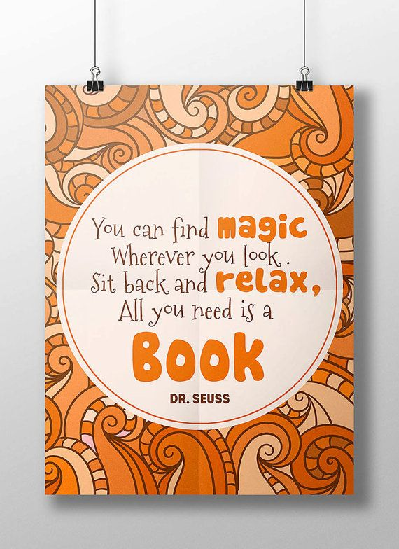 Dr Seuss Wall Art printable dr. seuss reading quote, library wall art, classroom