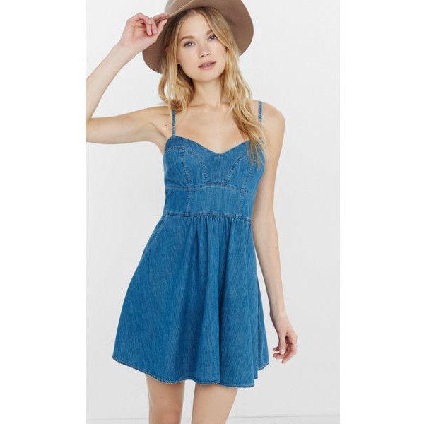 Express Denim Sweetheart Neckline Cami Sundress ($42) ❤ liked on Polyvore featuring dresses, blue, express dresses, mini skirt, sleeveless denim dress, skater skirt and denim skater skirt