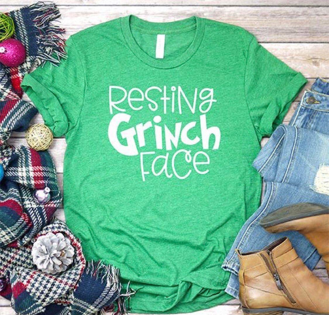 Resting Grinch Face Tee by HookDesignandSinker on Etsy
