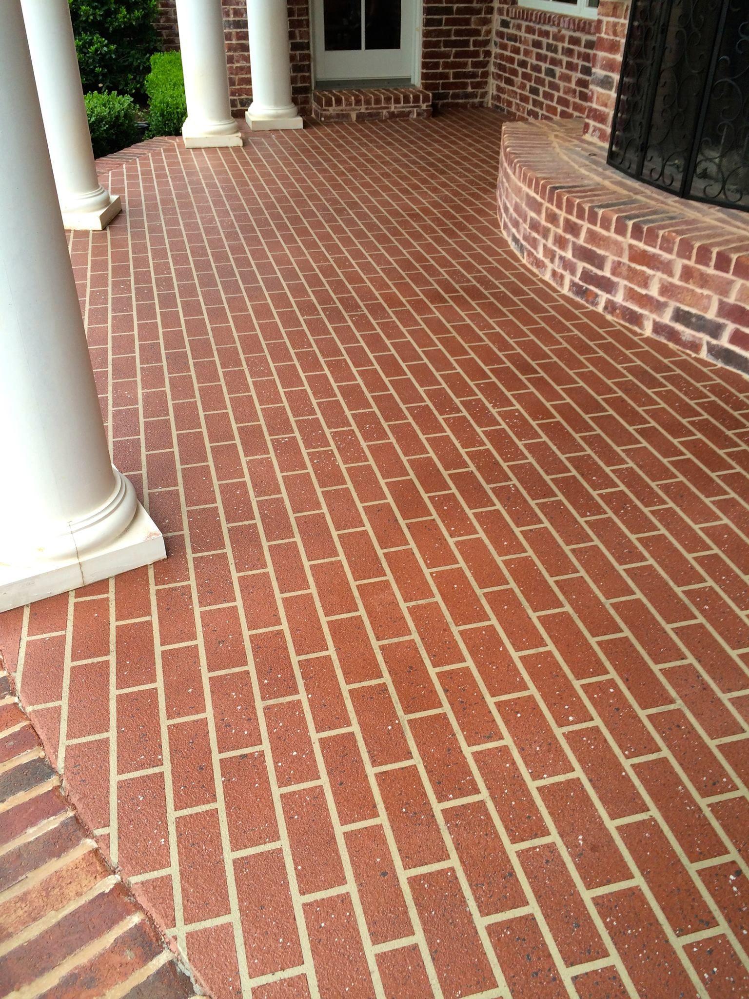 Brick Overlay Brick Stencil Sprayed Down Concrete
