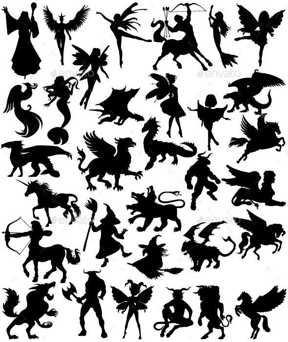 Mythical Creatures Silhouettes #AD #Mythical, #ad, #Creatures, #Silhouettes