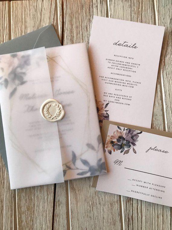 9a088cbd80821 Dusty Blue Blush Pink Floral Modern Gold - Wedding Invitation Set ...