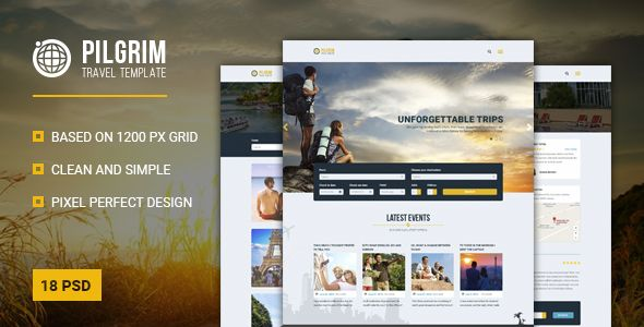 Pilgrim — Travel Agency, Tour Operator, Travel Booking PSD Template ...