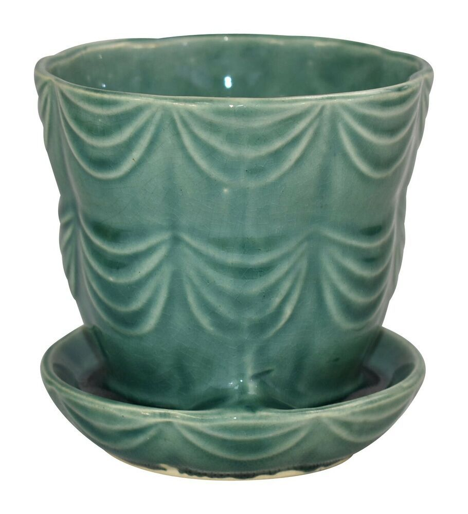 Pretty Brush Mccoy Pottery Flower Pot With An Attached Saucer With A Nice Draped Design Excellent Original Conditi Green Flower Pots Flower Pots Mccoy Pottery