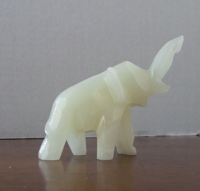 Vintage Alabaster Carved Elephant Vintage White Stone Elephant