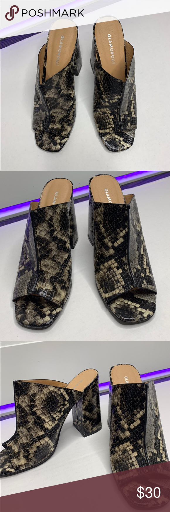 GLAMOROUS GREY SNAKE HEELED MULES Snake print block heel. ASOS Shoes Heels