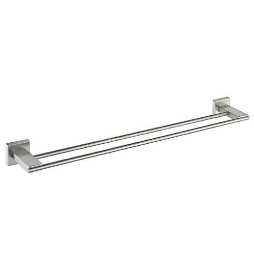 Sus 304 Stainless Steel Double Towel Bar Square Bathroom Wall Shelf Rack Hanging Towel Brushed Nickel Find Out More Bathroom Wall Shelves Wall Shelf Rack Hanging Towels