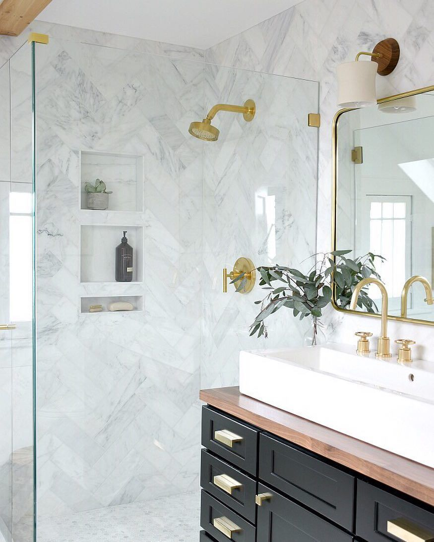 2 508 Likes 68 Comments Brit House Updated Houseupdated On Instagram Prepping For A Friday N Marble Shower Tile Unique Bathroom Design Updating House