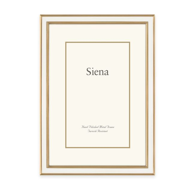 product image for Siena Metallics Enamel Frame in White/Gold | To ...