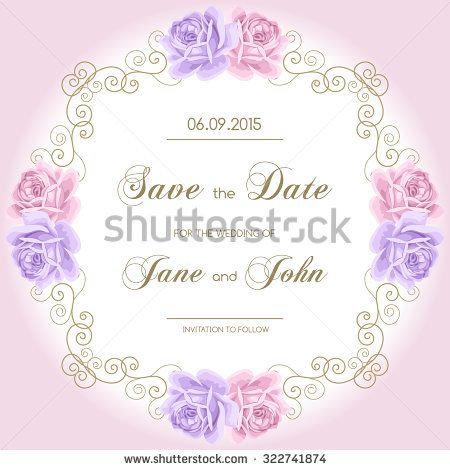 Vintage wedding invitation with roses Invitation template with - vintage invitation template