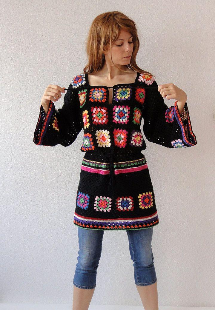 Crochet vestido túnica hippie gitana puente retazos de por GlamCro