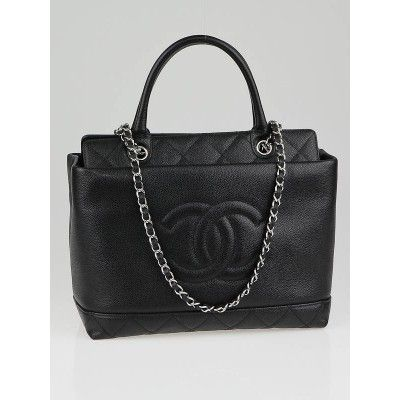 258561175c38b Chanel Black Caviar Leather Timeless CC Soft Top Handle Medium Tote Bag.