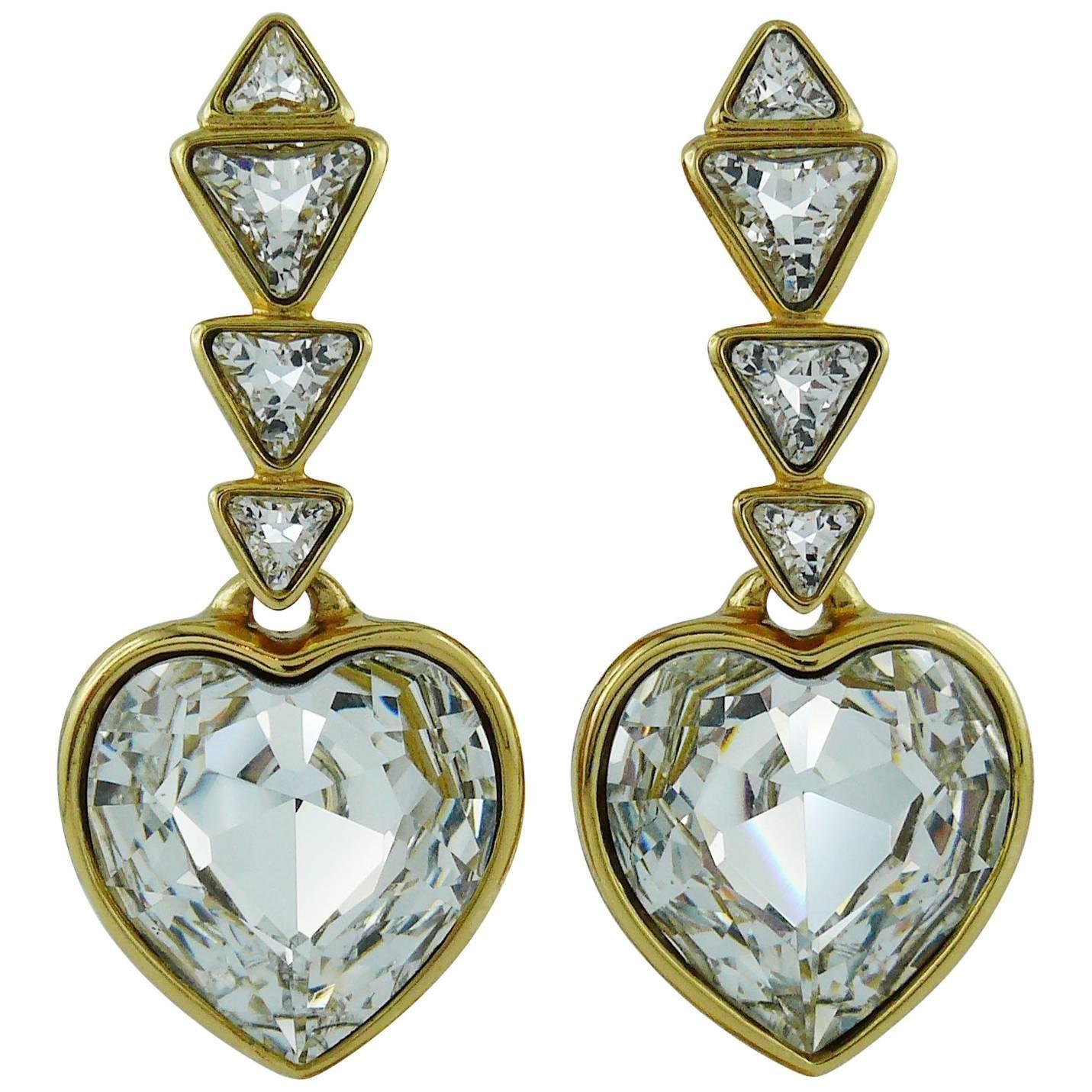 4badfadc8ca Yves Saint Laurent YSL Vintage Massive Diamante Heart Dangling Earrings