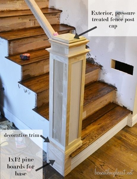 How To Build A Newel Post Beneath My Heart Stair Remodel Staircase Makeover Staircase Remodel