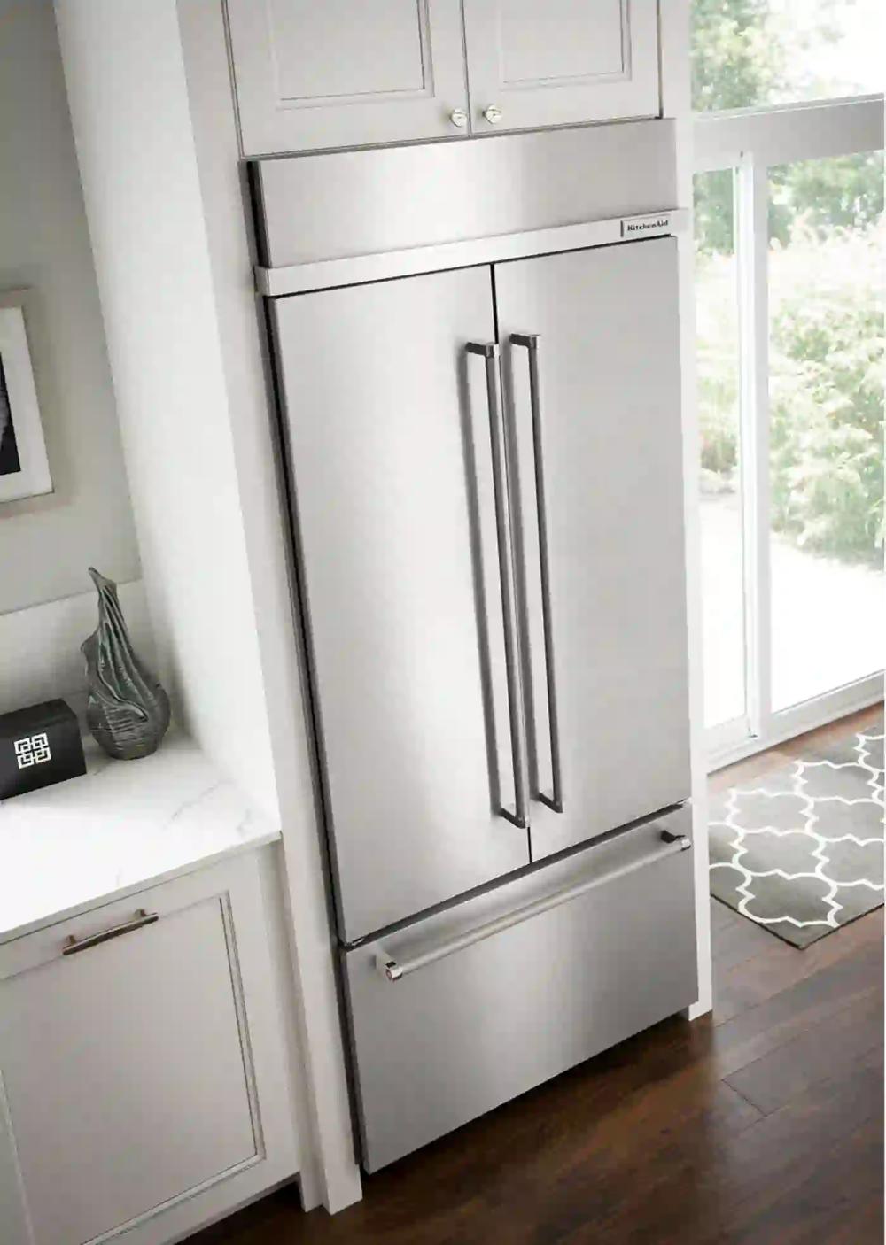 Kbfn506ess By Kitchenaid French Door Refrigerators Goedekers Com French Door Refrigerator Built In Refrigerator French Doors Interior