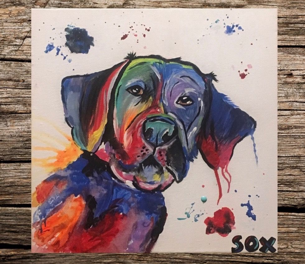 7d64484b2ca0 Custom pet paintings, abstract pet paintings, custom pet portraits Fun  creative pet painting of Sox the Lab! Check out my etsy page for more  paintings like ...
