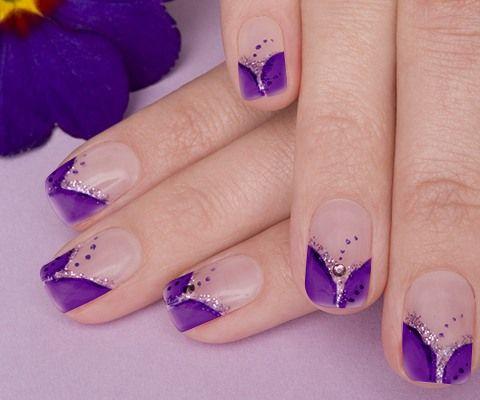 Purple Stone Nail Art Design