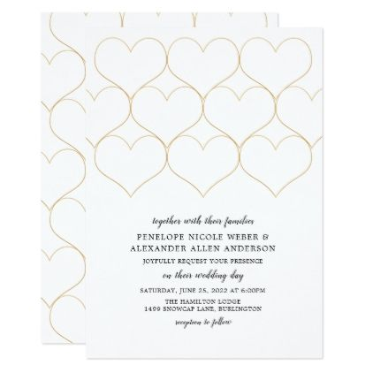 Simple Gold Heart Wedding Changeable Background Card