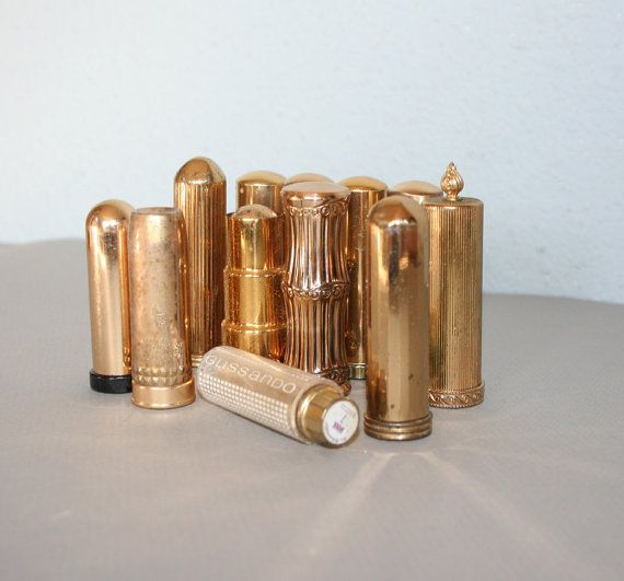 96e5da951c8 RESERVED 40s60s Gold Metal LIPSTICK TUBE Bullet by lolanyevintage, $45.00
