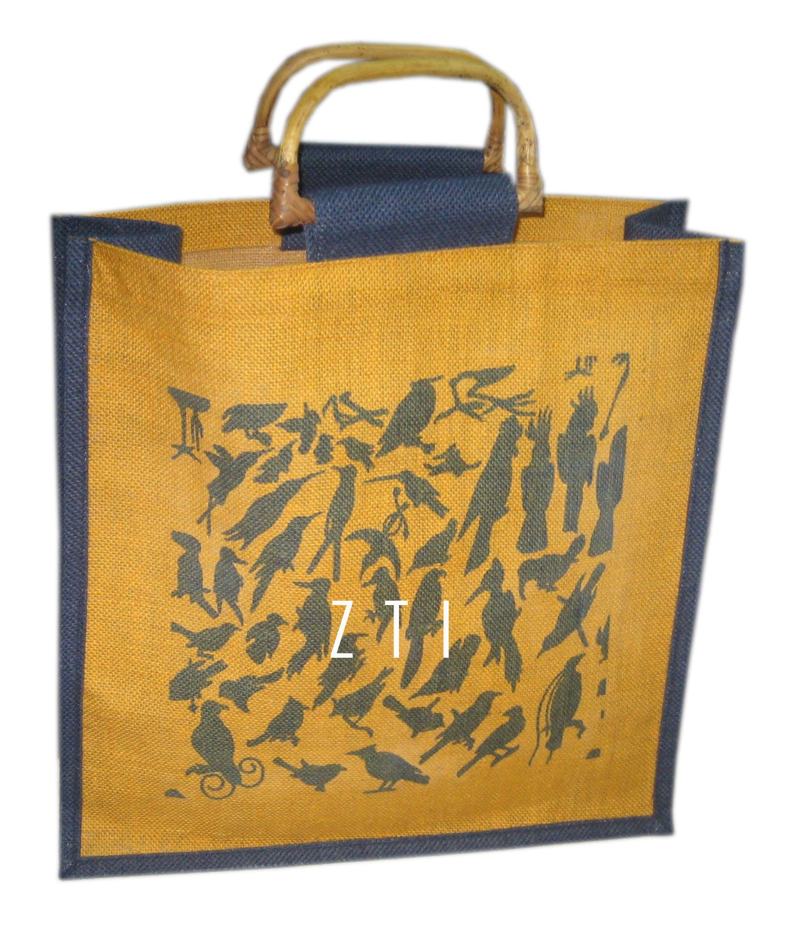 "Eco-Friendly Stenciled 18/"" Jute Shopping Bag Tote Southwestern Horses"